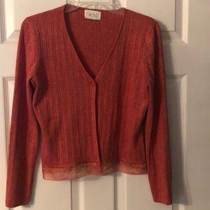 Cache Glittery Sweater w/ Embellished Trim